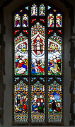 Stained glass window East Bergholt church, Suffolk, England, UK c 1837 by W H Constable of Cambridge, Ascension scene and biblical scenes