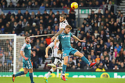 Derby County midfielder Bradley Johnson wins the ball in the air during the EFL Sky Bet Championship match between Derby County and Wigan Athletic at the iPro Stadium, Derby, England on 31 December 2016. Photo by Aaron  Lupton.