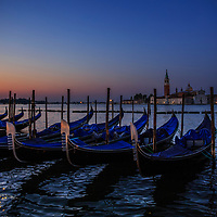 Gondolas at sunrise, Venice, Italy, 2015