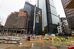 "© Licensed to London News Pictures. 10/03/2016. London, UK. View inside the construction site at 22 Bishopsgate in London. If completed, the 62-storey, 295 meter glass and steel tower would become the City of London's tallest ever skyscraper, standing three times the height of Big Ben. But the scheme is under threat following ""right-to-light"" legal discussions with local residents, heritage groups and the owners of neighbouring properties including Tower 42, the Baltic Exchange and St Helen's church. Photo credit : Vickie Flores/LNP"
