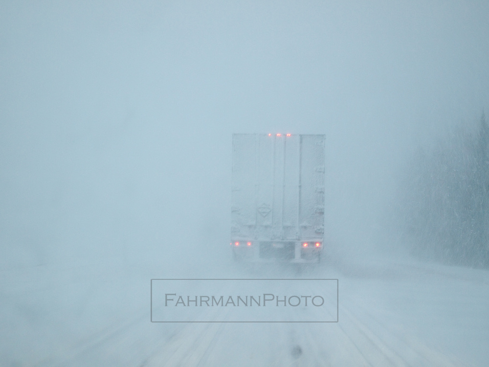 Minnesota State Highway 61 during white-out condition in late January.  This highway is normally a scenic coastal route along the North Shore of Lake Superior