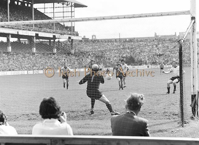 Kerry kicks the ball towards the goal during the Kerry v Dublin All Ireland Senior Gaelic Football Final in Croke Park on the 24th of September 1978. Kerry 5-11 Dublin 0-9.