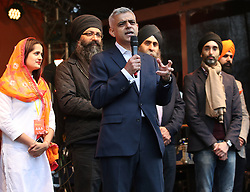 Sadiq Khan (centre) with members of the Vaisakhi Organising Committee on stage during the Mayor of London Vaisakhi celebrations in Trafalgar Square, London, to mark the Sikh New Year.