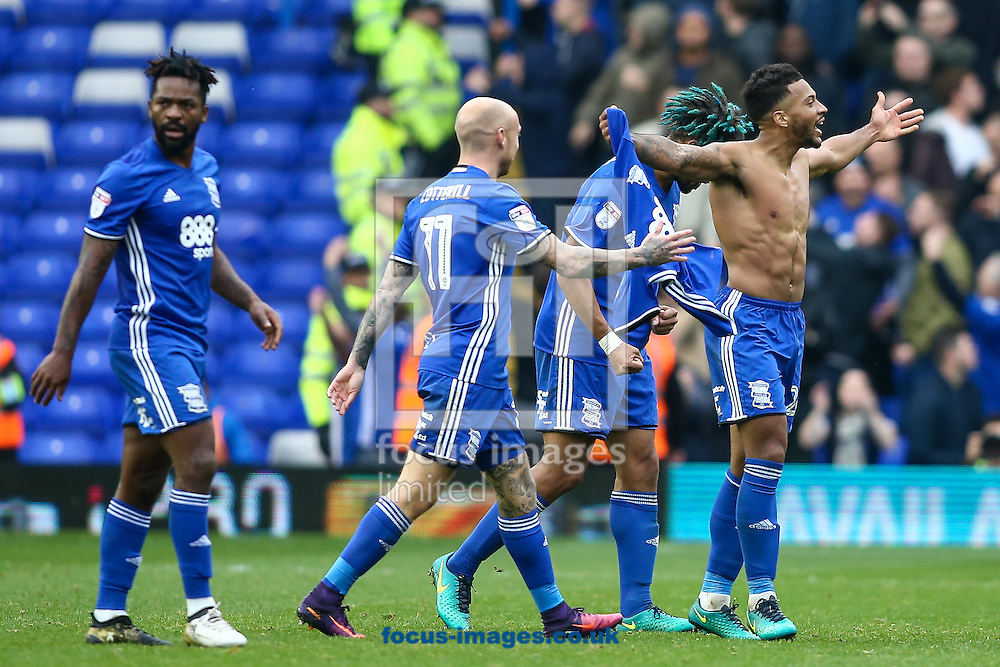 David Davis of Birmingham City (right) celebrates with his team mates after scoring during the Sky Bet Championship match at St Andrews, Birmingham<br /> Picture by Andy Kearns/Focus Images Ltd 0781 864 4264<br /> 30/10/2016