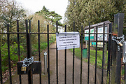 Leicester University Botanic Gardens closed, Shops, bars, pubs, closures due to the Covid_19 Coronavirus in Leicester, United Kingdom on 22 March 2020.