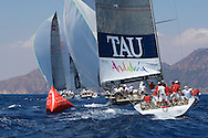 The TP52 fleet sails downwind during the practice race of the AUDI Medcup in Cartagena