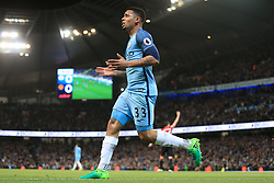 27th April 2017 - Premier League - Manchester City v Manchester United - Gabriel Jesus of Man City brings his celebration to an end after realising his goal has been disallowed - Photo: Simon Stacpoole / Offside.
