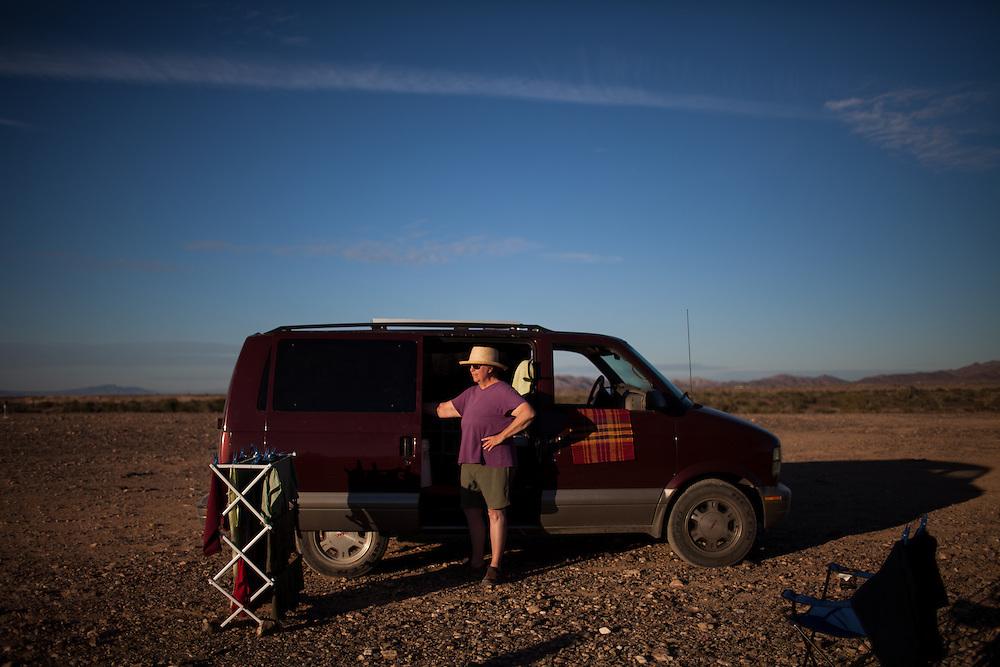 Author LaVonne Ellis camps in the desert outside Eherenberg, Arizona.