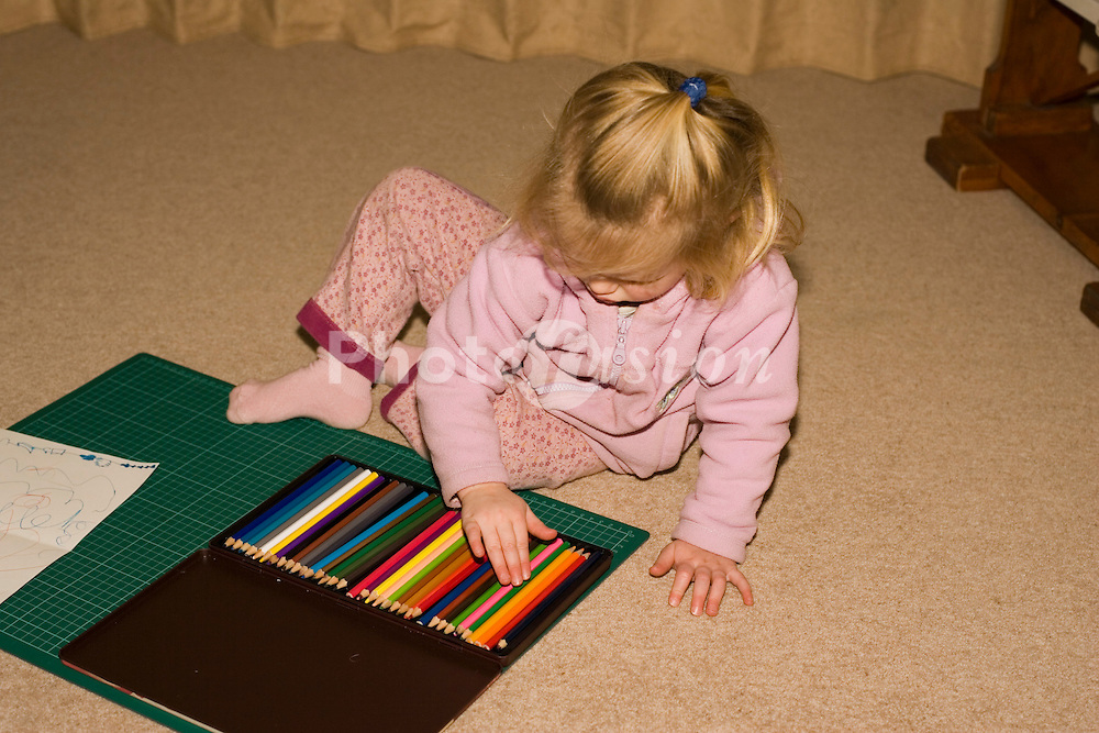 Small girl colouring UK