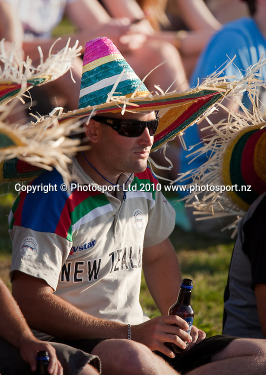 A fan in the crowd with a sombrero during the National Bank Twenty20 Series cricket match between Bangladesh and New Zealand Blackcaps won by 10 wickets by the Blackcaps at Seddon Park, Hamilton, New Zealand, Wednesday 03 February 2010. Photo: Stephen Barker/PHOTOSPORT