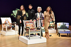 © Licensed to London News Pictures. 29/02/2016. (L to R) VICTORIA BAKER-HARBER, MARK-FRANCIS VANDELLI, MAUREEN LIPMAN and EMMA, VISCOUNTESS WEYMOUTH attend the Bonham's Chair Auction for Chiva African Aids Charity. They each designed chairs for the auction . London, UK. Photo credit: Ray Tang/LNP