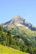 Alpine mountain peak landscape. Photographed in Winnertal, Near Gerlos, Zillertal, Tirol, Austria