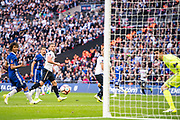 Chelsea goalkeeper Thibaut Courtois (13), Chelsea defender Nathan Ake (6), Tottenham Hotspur defender Jan Vertonghen (5), Tottenham Hotspur defender Toby Alderweireld (4) during the The FA Cup semi final match between Chelsea and Tottenham Hotspur at Stamford Bridge, London, England on 22 April 2017. Photo by Sebastian Frej.