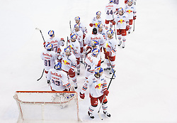 24.11.2013, Hala Tivoli, Ljubljana, SLO, EBEL, HDD Telemach Olimpija Ljubljana vs EC Red Bull Salzburg,  in picture players of Salzburg celebrate after winning 4-2 during the Erste Bank Icehockey League match between HDD Telemach Olimpija Ljubljana and EC Red Bull Salzburg at the Hala Tivoli, Ljubljana, Slovenia on 2013/11/24. Photo by Vid Ponikvar / Sportida