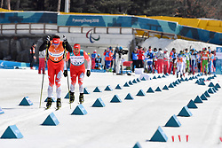 GARBOWSKI Piotr POL B3 Guide: TWARDOWSKI Jakub competing in the ParaSkiDeFond, Para Nordic Skiing, Sprint at  the PyeongChang2018 Winter Paralympic Games, South Korea.