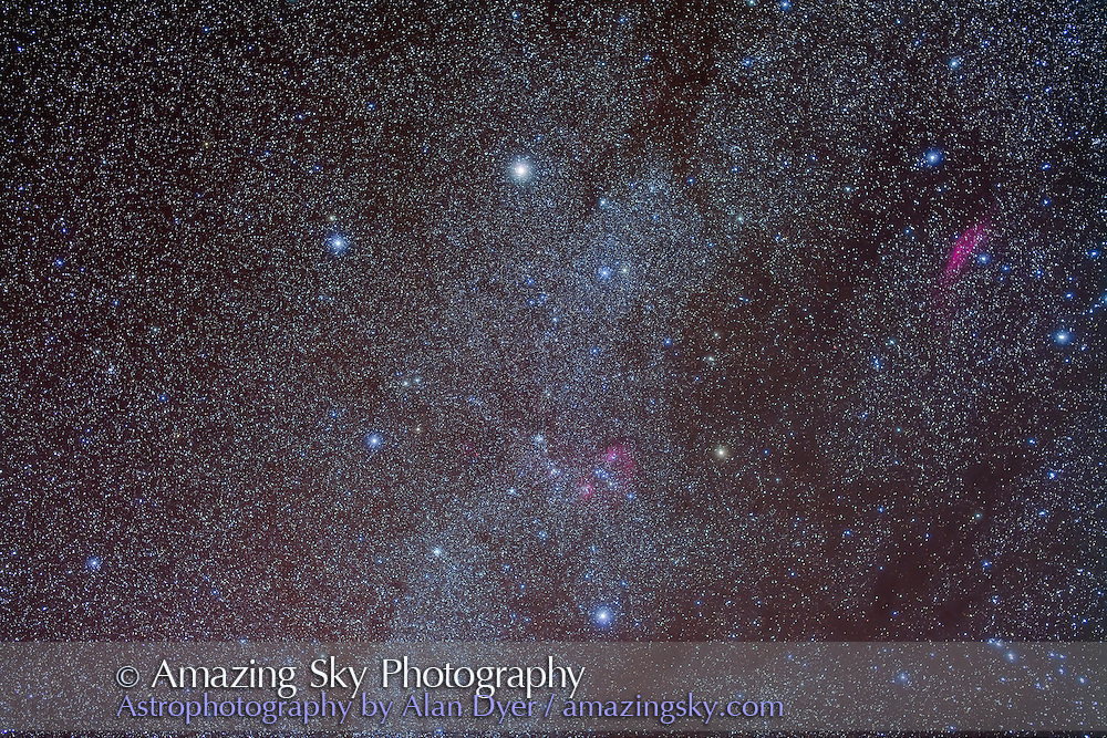 A deep exposure of Auriga with Canon 5D MkII at ISO 800 and 50mm Sigma lens at f/2.8 for 5 x 4 minute exposures, plus 3 x 4min exposures with Kenko soft filter for star glows. Note the lanes of dark nebulosity