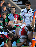 Twickenham, GREAT BRITAIN,  Quins, Andy GOMERSALL, waiting to feed the ball into the scrum, during the EDF. Energy Cup. between, Harlequins vs Ospreys at Twickenham Stoop.  02/12/2007 [Mandatory Credit Peter Spurrier/Intersport Images].
