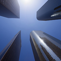 Upward view photo of Los Angeles downtown skyscraper office buildings in Southern California in the United States.