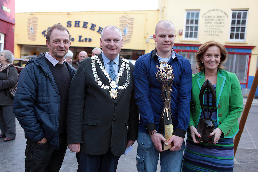 XXjob 12/05/2013 NEWS.Pictured at Clonakilty square to welcome Kilmeen Drama Group as they make their way home after their historic three in a row overall win in the All Ireland Drama Finals at Athlone over the weekend. L-R Actor Michael Crowley, Mayor of Clonakilty, Cllr. Cionnaith Ó Súilleabháin, Jack Coffey (son of the Director of the play Tim Coffey who tragically passed away 6 weeks ago) & Best actress Nore Scannell..Picture: Emma Jervis..