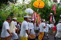Hindu ritual ceremonial procession in East Bali, Indonesia