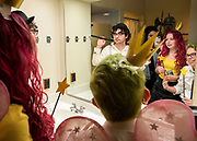 GNH residents take a selfie in the bathroom on Halloween.