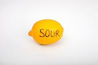 Sour lemon over white background