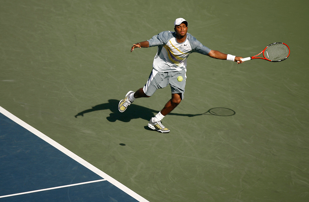 Donald Young of the United States playing against  Feliciano Lopez of Spain during day six of the 2007 U.S. Open at the Billie Jean King National Tennis Center on September 1, 2007 in the Flushing neighborhood of the Queens borough of New York City