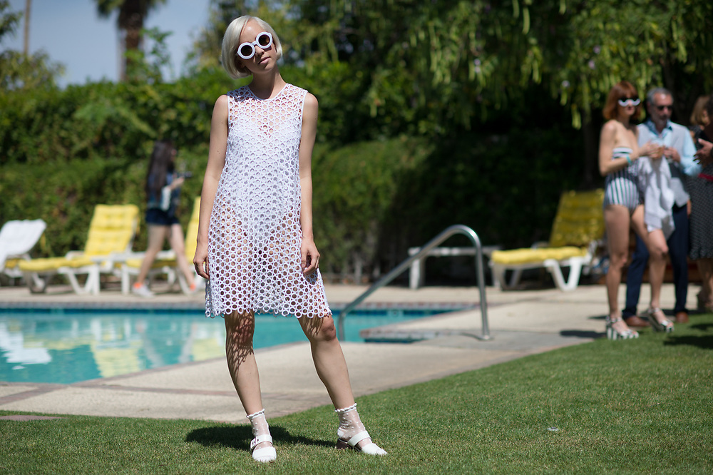White Dress and Sunglasses, MAC pool Party Coachella 2015
