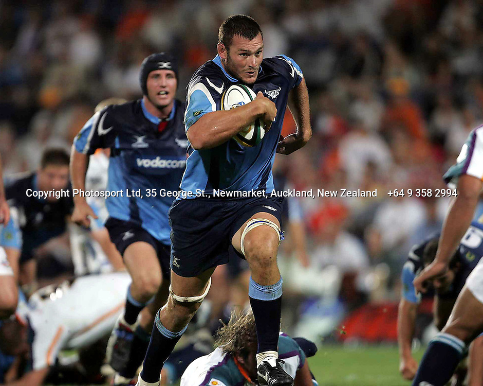 Bulls Danie Roussouw during the opening round of the 2006 Super 14 rugby union match between the Cheetahs and the Bulls at Vodacom Park, Bloemfontain, South Africa on 10 February 2006. The Bulls won 30-18. Photo: Africa Visuals/PHOTOSPORT.  #NO AGENTS# NZ USE ONLY#