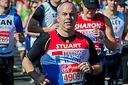 The London Marathon starts in Greenwich on Blackheath passes through Canary Wharf and finishes in the Mall. London UK, 13 April 2014  Guy Bell, 07771 786236, guy@gbphotos.com