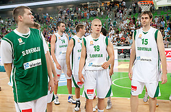 Uros SLokar, Edo Muric and Erazem Lorbek of Slovenia after the friendly match before Eurobasket Lithuania 2011 between National teams of Slovenia and Lithuania, on August 24, 2011, in Arena Stozice, Ljubljana, Slovenia. Slovenia defeated Lithuania 88-66. (Photo by Vid Ponikvar / Sportida)