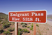 The sign for Emigrant Pass in Death Valley National Park.