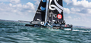 The 32 foot foiling catamaran Sultanate of Oman competing in the JPMorgan Asset Management Round the Island Race. Isle of Wight.<br /> Picture date: Saturday June 27, 2015.<br /> Photograph by Christopher Ison &copy;<br /> 07544044177<br /> chris@christopherison.com<br /> www.christopherison.com