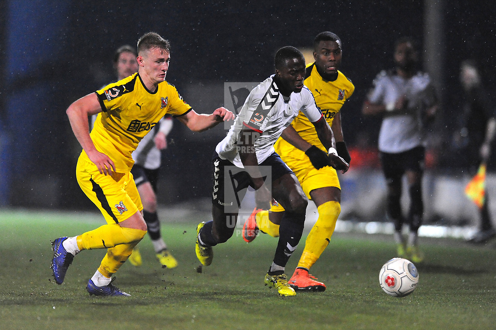 TELFORD COPYRIGHT MIKE SHERIDAN 5/3/2019 - Dan Udoh of AFC Telford takes on Luke Trotman of Darlington during the National League North fixture between AFC Telford United and Darlington at the New Bucks Head Stadium