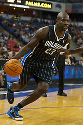 Jan 8, 2012; Sacramento, CA, USA; Orlando Magic shooting guard Jason Richardson (23) dribbles against the Sacramento Kings during the first quarter at Power Balance Pavilion. Mandatory Credit: Jason O. Watson-US PRESSWIRE