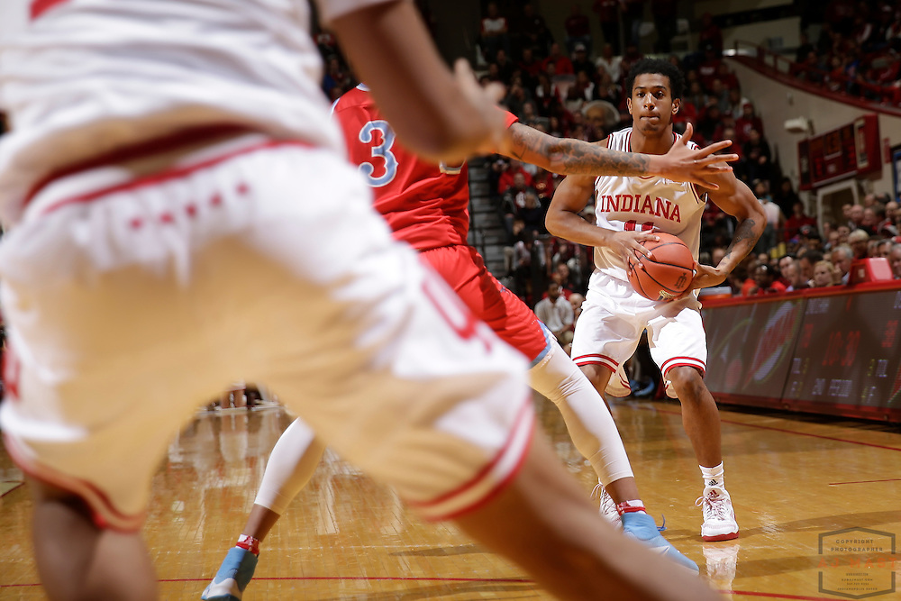 Indiana guard Devonte Green (11) in action as Delaware State played Indiana in an NCCA college basketball game, in Indianapolis, Monday, Dec. 19, 2016. (AJ Mast)