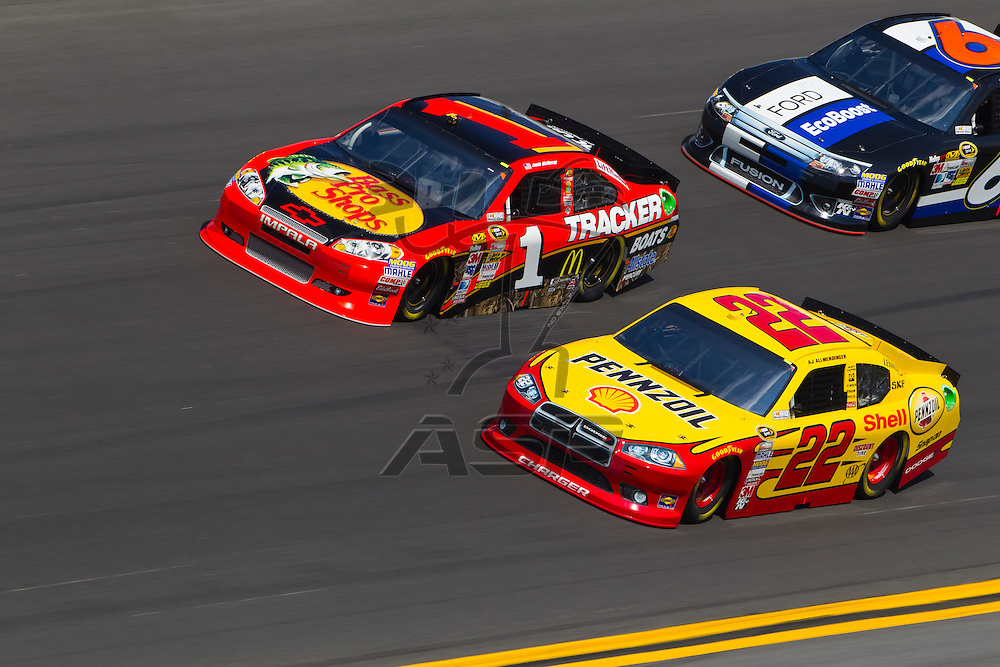 Daytona Beach, FL - Feb 23, 2012: Jamie McMurray (1), drives through the turns during the Gatorade Duel 1 race at the Daytona International Speedway in Daytona Beach, FL.