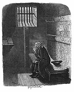 Fagin in the condemned cell in Newgate prison awaiting his execution. George Cruikshank illustration for Charles Dickens 'Oiliver Twist', London, 1837-38. Engraving