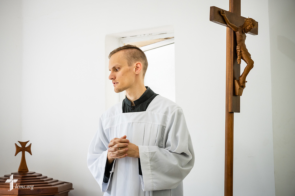 Vicar Benjamin Vanderhyde, LCMS missionary to Sri Lanka, assists in worship at Immanuel Lutheran Church, a congregation of the Ceylon Evangelical Lutheran Church, on Sunday, Oct. 20, 2019, in Colombo, Sri Lanka. LCMS Communications/Erik M. Lunsford