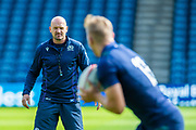 Scotland head coach Gregor Townsend watches a passing drill during the Scotland Rugby training run ahead of their match against France at BT Murrayfield Stadium, Edinburgh, Scotland on 23 August 2019.