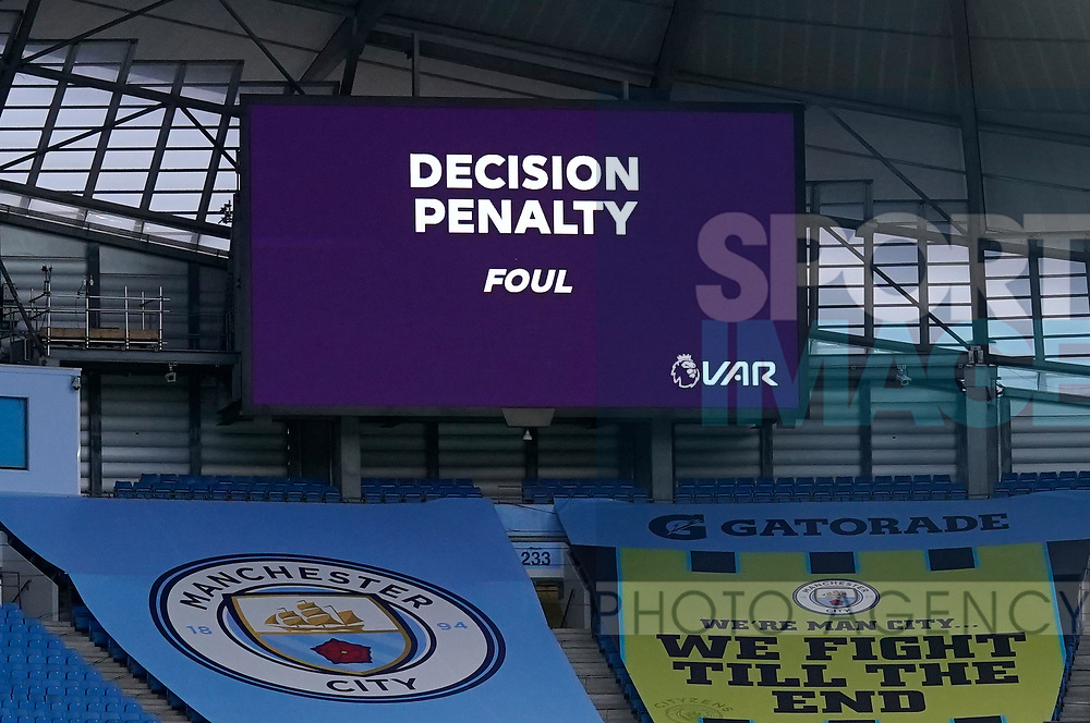 VAR decision for the third goal during the Premier League match at the Etihad Stadium, Manchester. Picture date: 22nd February 2020. Picture credit should read: Andrew Yates/Sportimage