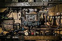 COLLE DI VAL SIENA (SIENA), ITALY - 11 JUNE 2018: A detail of a machine that produces Tecon,  a tool used to slice leather into shoes, jackets and bags, here in the Tecon factory in Colle di Val Siena (Siena), Italy, on June 11th 2018.<br /> <br /> Once the Obama administration struck the nuclear deal with Iran three years ago, Italy saw a chance. Last year, Italy exported more than 1.7 billion euros (nearly $2 billion) worth of goods to Iran. Then, President Trump withdrew the United States from the Iran deal and vowed to reinstate sanctions, dealing a blow to companies across Europe — especially those from Italy, Germany and France.<br /> <br /> For years, counterfeit versions of Tecon's product have circulated in Iran, the handiwork of Chinese factories. The owner Giorgio Meniconi took the nuclear deal as impetus to register his company trademark in Iran and forge a relationship with a local distributor.<br /> But last month, the distributor called and canceled the deal. Since Mr. Trump opted to reinstate sanctions, Iran's currency has plunged against the euro, making Tecon's products too expensive.