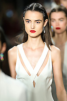 Blanca Padilla walks the runway wearing Cushnie et Ochs Fall 2016, hair by Antonio Corral Calero for Moroccanoil, makeup by Val Garland, photographed by Thomas Concordia during New York Fashion Week on February 12, 2016
