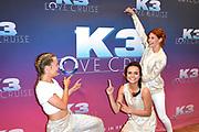Setbezoek bij de nieuwe K3-film: K3 Love Cruise, op  de SS Rotterdam in Rotterdam.<br /> <br /> op de foto:  K3 -  Klaasje Meijer, Hanne Verbruggen en Marthe De Pillecyn