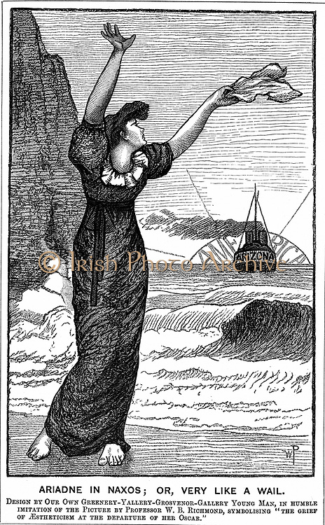 Oscar Wilde (1854-1900) Irish playwright, novelist, poet and wit, left England to tour America.Cartoon from 'Punch' London, 4 February 1882, showing Aestheticism, as Ariadne on Naxos, lamenting the departure of Oscar.   Wood engraving .