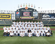 CHICAGO - JULY 22:  The Chicago White Sox poses for their official team photo on July 22, 2013 at U.S. Cellular Field in Chicago, Illinois.  FIRST ROW:  Batboys  SECOND ROW:  Assistant Trainer Brian Ball, Head Trainer Herm Schneider, Bullpen Catcher Mark Salas, First Base Coach Daryl Boston, Assistant Hitting Coach Harold Baines,  Hitting Coach Jeff Manto, Manager Robin Ventura, General Manager Rick Hahn, Pitching Coach Don Cooper, Third Base Coach Joe McEwing, Bench Coach Mark Parent, Bullpen Coach Bobby Thigpen, Director of Conditioning Allen Thomas, Director of Team Travel Ed Cassin  THIRD ROW:  Visiting Clubhouse Manager Gabe Morell, Baseball Video Coordinator Bryan Johnson, Umpires Clubhouse Manager Joe McNamara Jr.,  White Sox Clubhouse Assistant Manager Rob Warren, White Sox Clubhouse Manager Vince Fresso, Josh Phegley, Alexei Ramirez, Gordon Beckham, John Danks, Blake Tekotte, Ramon Troncoso, Dylan Axelrod, Pre-Game Instructor Mike Kashirsky, Pre-Game Instructor Lino Diaz, Pre-Game Instructor Adam Ricks  FOURTH ROW:  Alejandro De Aza, Dayan Viciedo, Jose Quintana, Conor Gillaspie, Paul Konerko, Jake Peavy, Jesse Crain, Jeff Keppinger, Hector Santiago, Donnie Veal  FIFTH ROW:  Alex Rios, Casper Wells, Gavin Floyd, Matt Lindstrom, Adam Dunn, Chris Sale, Nate Jones, Tyler Flowers, David Purcey, Addison ReedNOT PICTURED:  Dewaye Wise (Disabled List).  (Photo by Ron Vesely)