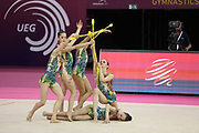 The Junior Bulgarian group, during the 33rd European Rhythmic Gymnastics Championships at Papp Laszlo Budapest Sports Arena, Budapest, Hungary on 20 May 2017. The bulgarian team won the bronze medal. Photo by Myriam Cawston.