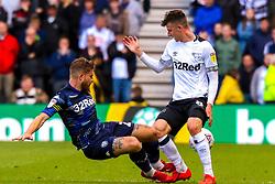 Gaetano Berardi of Leeds United slides in to tackle Mason Mount of Derby County - Mandatory by-line: Ryan Crockett/JMP - 11/05/2019 - FOOTBALL - Pride Park Stadium - Derby, England - Derby County v Leeds United - Sky Bet Championship Play-off Semi Final 1st Leg