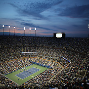 A view of a packed Arthur Ashe Stadium as Rafael Nadal, Spain, in action against Novak Djokovic, Serbia, during the Men's Singles Final at the US Open, Flushing. New York, USA. 9th September 2013. Photo Tim Clayton