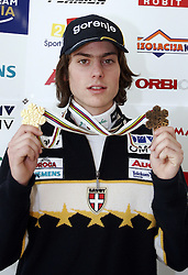 Rok Benkovic of Slovenia, World Ski Jumping Champion 2005 in Oberstdorf at press conference after he came from Oberstdorf, on February 28, 2005 in Ljubljana-Crnuce, Slovenia. (Photo By Vid Ponikvar / Sportida.com)